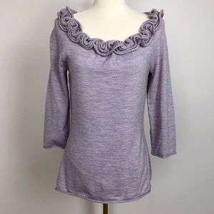 Anthropologie Moth Brand Ruffle Collar Lilac Top